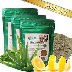 Clay Mask  Bentonite Aloe Vera  Lemon Peel Powder Pack of 3 Indian Healing Clay Fullers Earth Powder for Facial Mask Hair Bath  Spa *** Continue to the product at the image link. Bentonite Clay Mask, Aloe Vera Powder, Fullers Earth, Too Faced Highlighter, Indian Healing Clay, Organic Apple Cider Vinegar, Clay Masks, How To Treat Acne, Skin Brightening
