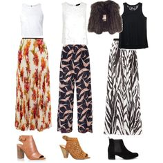 Work Outfits: Boho- print maxi skirt & pants by holliejade on Polyvore featuring polyvore mode style Alice + Olivia Aéropostale Isabel Marant Valentino Carvela Kurt Geiger Dorothy Perkins fashion clothing