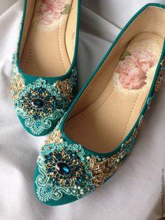 """Купить Балетки""""Gold Blue"""" - красивая обувь, модная обувь, стильная обувь, дизайнерская обувь"""