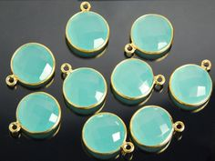 2 pieces: grade AAA aqua chalcedony gemstone one ring by JWbeads