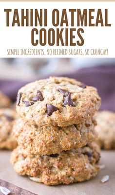 Crunchy, nutty and loaded with chocolate chips, these Tahini Oatmeal Cookies are perfect guilt-free treat. Packed with oats, but made entirely without refined sugars, these little sweet bites will surely delight you. ----- #cookies #breakfast #snack #healthysnack #healthybreakfast #healthycookies #cookierecipe #recipeshare #recipeidea #newrecipe #oatmeal #oats #lunchboxideas #kidssnack #picnicrecipeidea Holiday Cookie Recipes, Best Cookie Recipes, Bar Recipes, Health Recipes, Dessert Recipes, Cooking Recipes, Healthy Snacks For Kids, Healthy Baking, Healthy Desserts