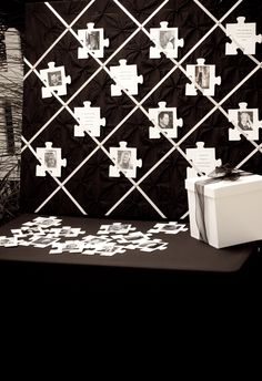 Wedding seat assignments. Use puzzle pieces with pictures of your guests on the front, their table and seat assignment on the back. The Community Puzzle is the name of this puzzle.