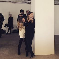Mary-Kate & Ashley Olsen backstage at The Row F/W 2015 #style #fashion #mka