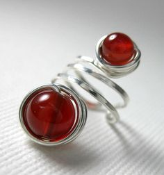 Ear Cuff Sterling Silver and Carnelian Wire Wrapped