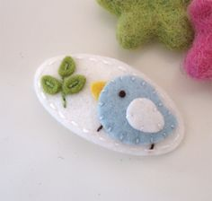 NO SLIP Wool felt hair clip -Pale blue bird and a sprout -mini -ecru. $6.00, via Etsy.