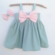 Image of Big Bow Dress    Sage Green with Blush Pink Bow
