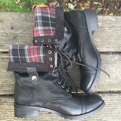 Fold Over Combat Boots Brand new, never worn! Soda Shoes Combat & Moto Boots