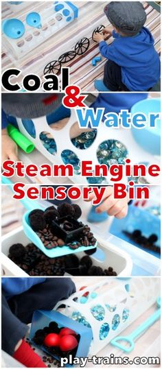 Coal & Water Steam Engine Sensory Bin..Would make a great hands-on project for the younger kids in studying the American Civil War  #warbetweenthestates