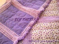 Fabric and crochet baby blanket ''Flower scent'' pattern