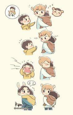 alors ...d'après moi c'est Sehun qui est en blanc et qui tient Kai en brun et le petit gars c'est Xiumin (en jaune) et celui qui s'incruste à la fin et qui porte Xiumin c'est Suho... après je peux aussi me tromper....?