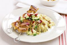 Pork kebabs with apple salsa & pistachio couscous http://www.taste.com.au/recipes/19458/pork+kebabs+with+apple+salsa+pistachio+couscous