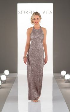 Matte Sequin High Neck Bridesmaids Dresses