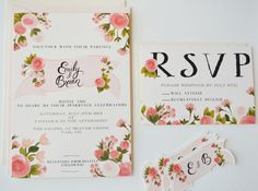 Custom Hand Painted Wedding Invitation Suite/ Set by firstsnowfall