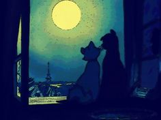 Duchess & O'Malley and the backdrop of Paris. Aw I love The Aristocats.
