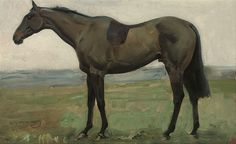 Sir Alfred James Munnings, Cryptical, a dark bay hunter in a landscape