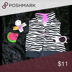 Carter's zebra fleece vest Infant girls zebra vest with hot pink accents Carter's Jackets & Coats Vests