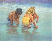 Canvas giclee, three children on the beach,  ocean scene, children on beach, , two boys, one girl, home decor, beach decor,  raadart