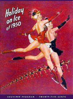Holiday on Ice 1950 vintage skating program illustrated by Russ Ruskin Williams.  Figure skating pinups.