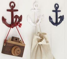 Anchor Hooks #PotteryBarnKids- only Pink left, but can spray paint. Decide exact placement, quantity, colors. Can also call stores to see if they still have RBW colors in stock