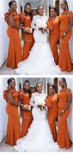 Burnt Orange Mermaid Long Cheap Bridesmaid Dresses Online, WG611 #bridesmaid #wedding #bridesmaiddresses #weddingidea #bridesmaidsdresses
