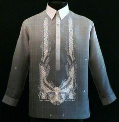 Monochromatic Dark Gray Barong Tagalog - Barongs R us Filipiniana Wedding, Filipiniana Dress, Wedding Shirts, Wedding Men, Wedding Ideas, Dream Wedding, Barong Tagalog, Filipino Wedding, Filipino Fashion