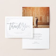 #wedding #thankyoucards - #Confetti Dots Frame Brushed Chic Wedding Thank You Foil Card