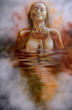 Acqua Sovrana - Olio su tela 90x110 - 2015  Acqua Acqua di monte, acqua di fonte, acqua piovana, acqua sovrana, acqua che odo, acqua che lodo, acqua che squilli, acqua che brilli, acqua che canti e piangi, acqua che ridi e muggi. Tu sei la vita e sempre sempre fuggi.  di Gabriele D'Annunzio Opera, Painting, Opera House, Painting Art, Paintings, Painted Canvas, Drawings