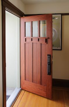 31 Popular Mission Style Door Design Ideas For Your Home - Mostly located in the Southwest or Florida, Mission homes are based on the architecture of early Hispanic settlers of California, and so look a lot li. Craftsman Style Front Doors, Craftsman Decor, Craftsman Furniture, Craftsman Interior, Wood Front Doors, The Doors, Entry Doors, Craftsman Style Interiors, Craftsman Style Kitchens