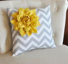 Mellow Yellow Corner Dahlia on Gray and White Zigzag Pillow 14 X 14 -Chevron Flower Pillow- Zig Zag Pillows