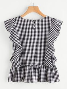 9526ed64799 Gingham Frill Trim Blouse -SheIn(Sheinside) Gingham Dress, Girls Jeans,  Stripped