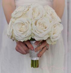 Ready to ship wedding bouquet! White Rose Wedding Bouquet with Rhinestone Handle  by KateSaidYes, www.katesaidyes.etsy.com