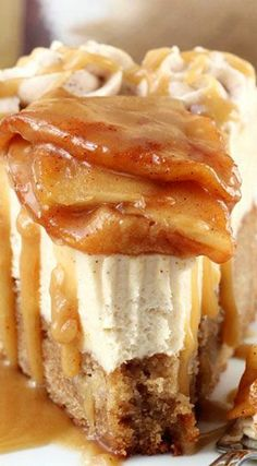 Caramel Apple Blondie Cheesecake. Um this looks absolutely amazing.