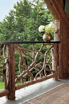 Balustrades are in a rustic twig-work style.