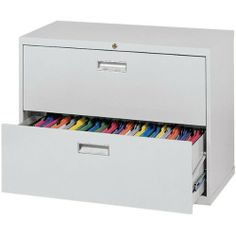 "600 Series Lateral File Cabinet - Two Drawers - 36""W x 19 1/4""D x 28 3/8""H by Sandusky Lee. $219.95. Sandusky Lee's 600 Series Lateral File Cabinet is a stylish and durable way to protect your important papers. This durable steel lateral file cabinet has two drawers that hold legal- and letter-size documents. Ball-bearing slides allow the drawers to fully extend for easy access to contents. Features a center-lock system that securely locks both sides of each drawer. A bu..."
