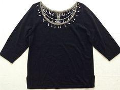 Bob Mackie Rhinestone Beaded Faux Pearl Fringe Top Sweater Blouse Size L NWT #BobMackie #Top