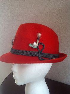 Vintage RED FEDORA with Austrian and Bavarian by maggiecastillo, $43.00