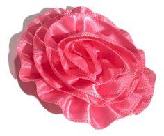 "Pink 2"" satin ruffle rolled rosette flower"
