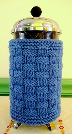 French Press Coffee Cozy Bright Blue by CozyKitchenKnits on Etsy, $18.00