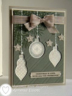 SU! Ornament Keepsakes stamp set in Always Artichoke and Crumb Cake - Annette Elliott