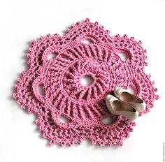 Купить Вязаный коврик Розовый зефир. - розовый, вязаный коврик, коврик в детскую, еоврик на пол
