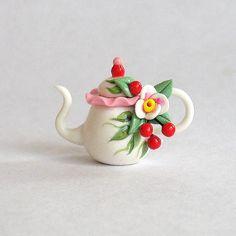 Miniature Charming Cherry Teapot OOAK by C. by ArtisticSpirit