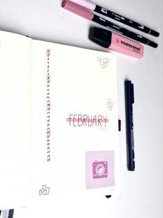 Bullet Journal Inspiration für eine Monatsübersicht. Minimalistisch, clean, rosa, pink für den Februar Monthly Spread, Journal Inspiration, Pink, February, Minimalist, Ideas, Pink Hair, Roses