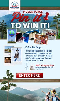 #Pin2Win prizes from @MyPigeonForge! Visit http://www.mypigeonforge.com/pinterest/ to find out how you could win these #PigeonForge prizes.