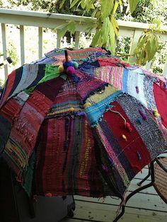 saori santa cruz studio 2013 - Jill Nickolene Sanders - Picasa Web Albums for over sofa on our deck --add sheer netting to bottom Art Du Fil, Umbrellas Parasols, Weaving Textiles, Weaving Projects, Gypsy Style, Fabric Art, Textile Art, Wearable Art, Fiber Art