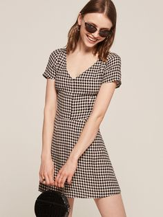 Raleigh black gingham mini dress Reformation