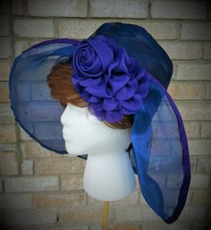 Wide Brim Organza Hat Church Wedding Quinceanera Prom Derby