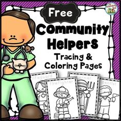 Free Community Helpers Tracing and Coloring Pages: This set includes coloring pages for 21 community helpers. The name of the community helper is included on each page for your students to trace. Community Helpers Activities, Community Helpers Kindergarten, Kindergarten Social Studies, School Community, In Kindergarten, Community Helpers Art, Community Jobs, Preschool Themes, Preschool Lessons