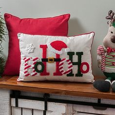 Add some Christmas spirit to your living room with this Fuzzy Ho Ho Ho Accent Pillow. You will love the festive embroidered design on this accent piece. Diy Christmas Ornaments, Christmas Wreaths, Christmas Decorations, Christmas Décor, Diy Pillows, Accent Pillows, Throw Pillows, Pillow Ideas, Christmas Cushions