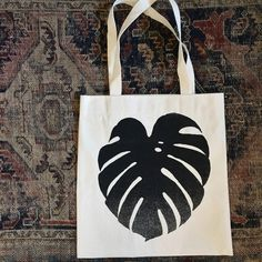Handmade Monstera Leaf Tote by dashanddart on Etsy