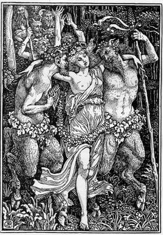 [Nymph between two satyrs] Book Illustration by Walter Crane, RWS 1845-1915 Photographic Reproduction of pen and ink drawing 1897 Illustration for The Faerie Queene. The Studio Scan and text by George P. Landow [This image may be used for any scholarly or educational purpose without prior permission]